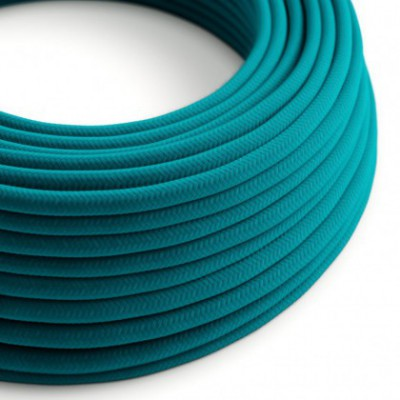 Cable eléctrico redondo revestido de algodón liso Azul Cielo RC21