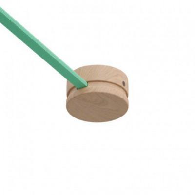 Roseta de madera Filé System para cable textil guirnalda. Fabricado en Italia